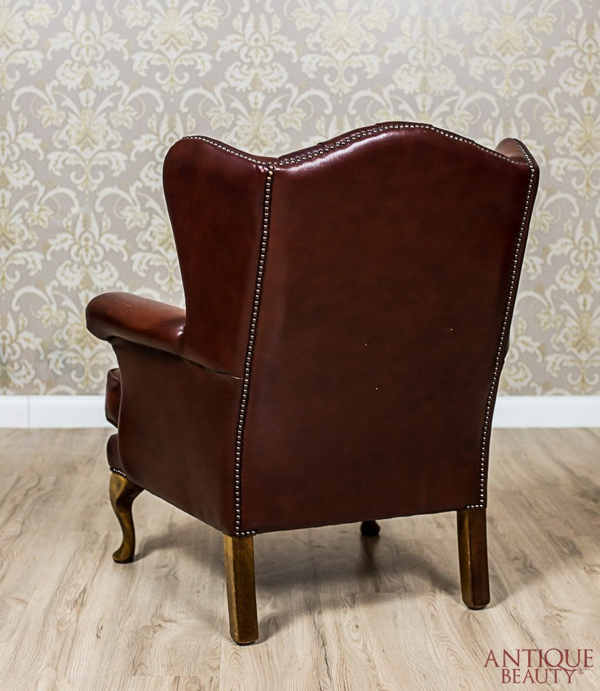Stylized, Leather Wingback Armchair - Antique Beauty - Stylized, Leather Wingback Armchair