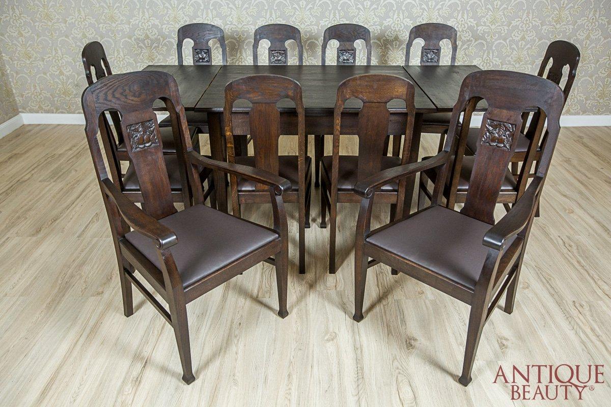 Antique Beauty Antyczny Secesyjny Stół Dębowy Z Krzesłami I Fotelami