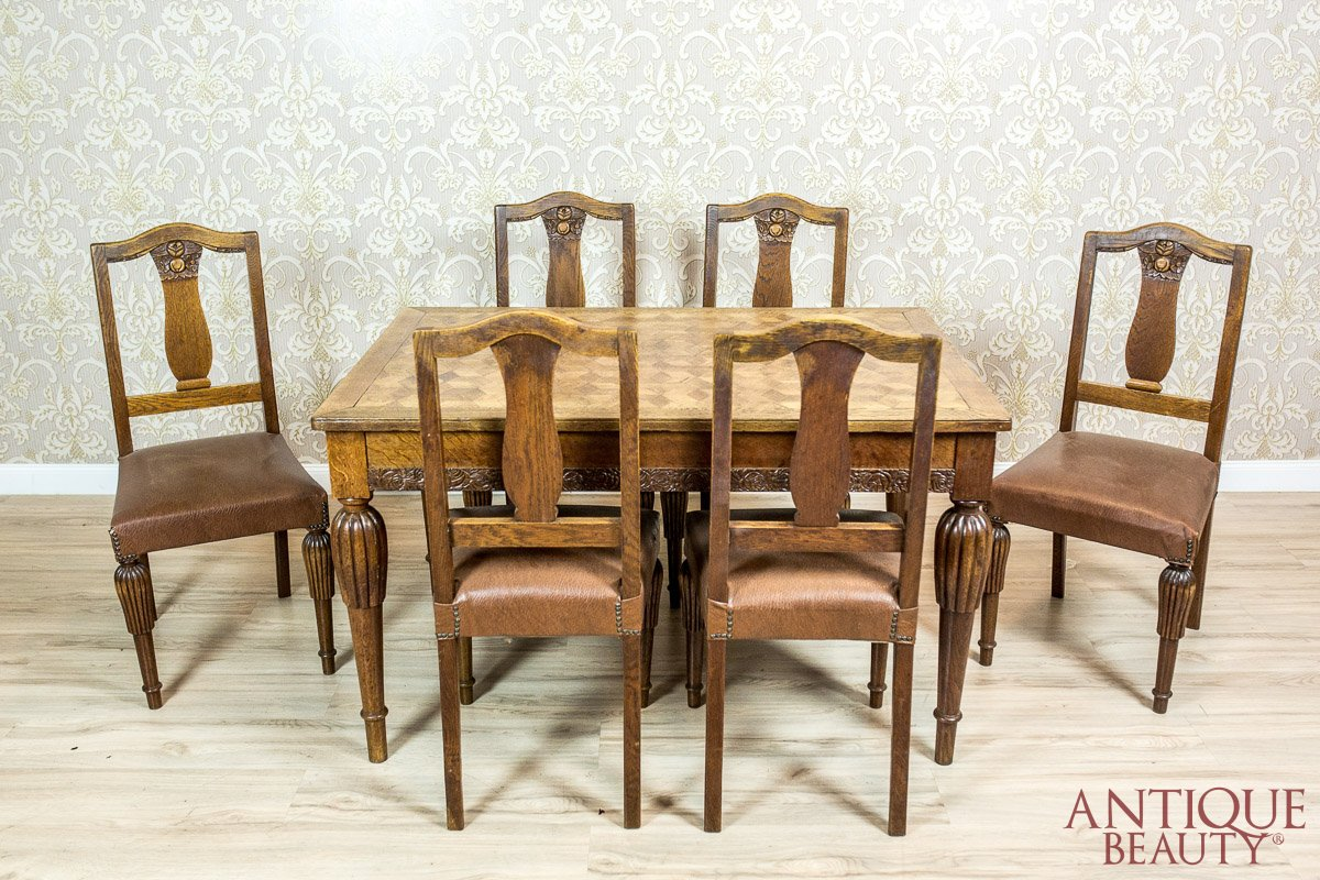 Remarkable Oak Art Nouveau Table With Chairs Home Interior And Landscaping Staixmapetitesourisinfo
