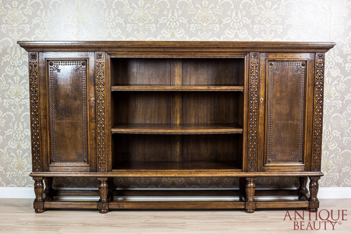 Antique Beauty Solid Oak Bookcase From The 40s