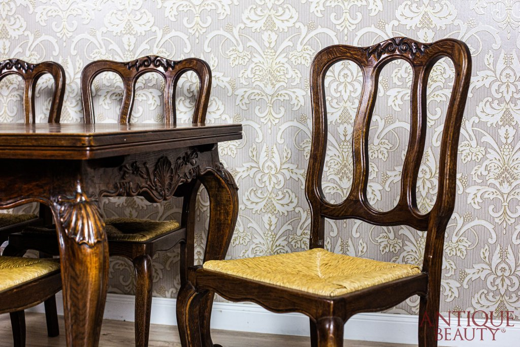 Antique Beauty Antyczny Rozkładany Stół Z Krzesłami Komplet Dębowy
