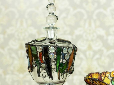 Glass Decanter with Stained Glass