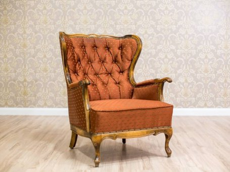 Stylish Wingback Armchair in the Louis Style, Circa the 2nd Half of the 20th c.