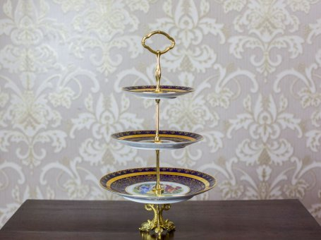 Bohemia Three-Tiered Epergne, Czechoslovakia