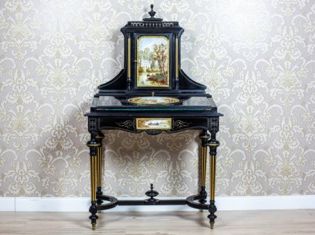 French Napoleon III Lady's Desk, Circa 1870, with Porcelain Tableau