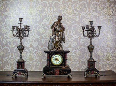 19th-Century S. Marti & Cie Mantle Clock Set