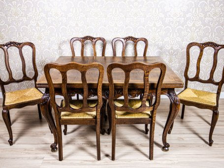 Extendable Table with Chairs – Oak Furniture Set
