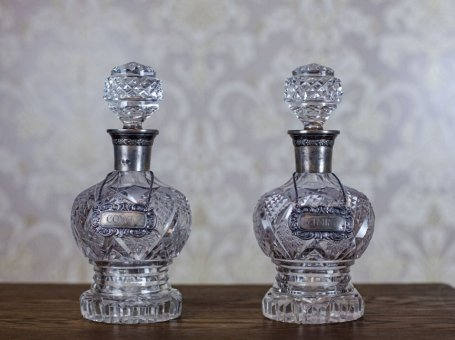 Pair of Crystal Liquor Decanters