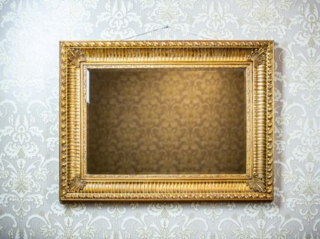 Mirror in a Rectangular, Gold Frame