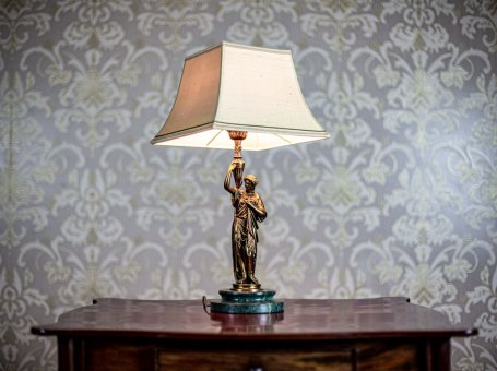 19th-Century Bronze Table Lamp