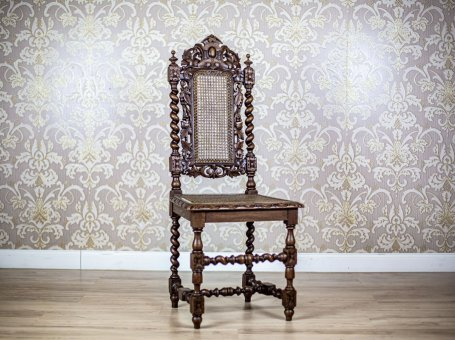 19th-Century Carved Chair with Rattan