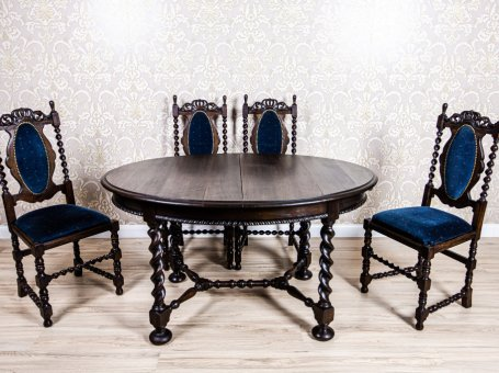 19th-Century Carved Table with Chairs