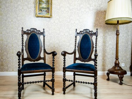 Pair of Eclectic Carved Armchairs