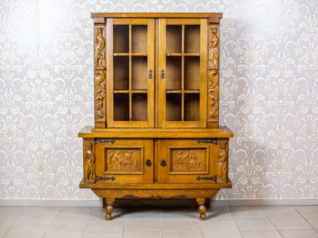 Oak Cupboard with a Display Case